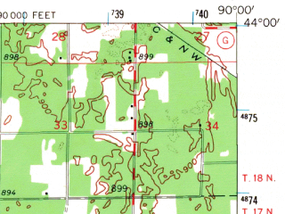 Reduced fragment of topographic map en--usgs--063k--057279--(1962)--N044-00_W090-15--N043-45_W090-00; towns and cities Mauston, New Lisbon
