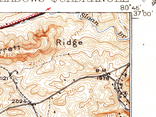 Reduced fragment of topographic map en--usgs--063k--057283--(1930)--N037-00_W081-00--N036-45_W080-45