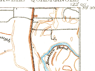 Reduced fragment of topographic map en--usgs--063k--057285--(1906)--N039-30_W122-15--N039-15_W122-00