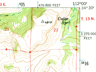 Reduced fragment of topographic map en--usgs--063k--057289--(1947)--N034-30_W112-15--N034-15_W112-00