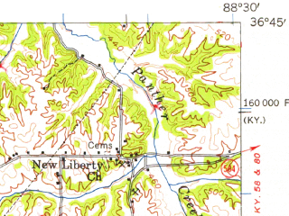 Reduced fragment of topographic map en--usgs--063k--057293--(1952)--N036-45_W088-45--N036-30_W088-30; towns and cities Mayfield, Wingo