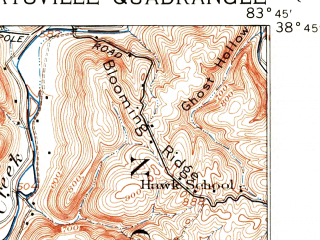 Reduced fragment of topographic map en--usgs--063k--057297--(1915)--N038-45_W084-00--N038-30_W083-45; towns and cities Maysville, Sardis, Washington, Aberdeen