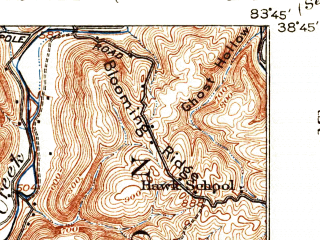 Reduced fragment of topographic map en--usgs--063k--057297--(1919)--N038-45_W084-00--N038-30_W083-45; towns and cities Maysville, Sardis, Washington, Aberdeen