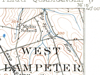 Reduced fragment of topographic map en--usgs--063k--057304--(1912)--N040-00_W076-30--N039-45_W076-15; towns and cities Willow Street, Susquehanna Trails