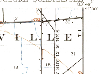 Reduced fragment of topographic map en--usgs--063k--057337--(1909)--N041-30_W084-00--N041-15_W083-45; towns and cities Custar, Grand Rapids, Mcclure