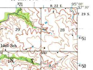 Reduced fragment of topographic map en--usgs--063k--057350--(1943)--N037-30_W095-15--N037-15_W095-00; towns and cities Mccune