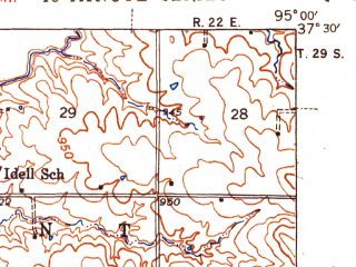 Reduced fragment of topographic map en--usgs--063k--057350--(1945)--N037-30_W095-15--N037-15_W095-00; towns and cities Mccune