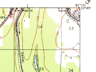 Reduced fragment of topographic map en--usgs--063k--057357--(1937)--N033-45_W091-30--N033-30_W091-15; towns and cities Dermott, Mcgehee, Reed