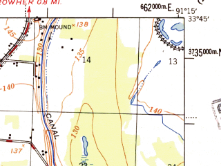 Reduced fragment of topographic map en--usgs--063k--057357--(1955)--N033-45_W091-30--N033-30_W091-15; towns and cities Dermott, Mcgehee, Reed