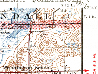 Reduced fragment of topographic map en--usgs--063k--057383--(1926)--N042-30_W088-30--N042-15_W088-15 in area of Wonder Lake, Mccullom Lake; towns and cities Woodstock, Mchenry, Wonder Lake, Bull Valley, Hebron