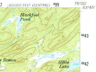 Reduced fragment of topographic map en--usgs--063k--057391--(1958)--N043-45_W075-15--N043-30_W075-00