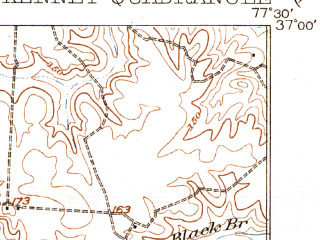 Reduced fragment of topographic map en--usgs--063k--057394--(1921)--N037-00_W077-45--N036-45_W077-30; towns and cities Mckenney