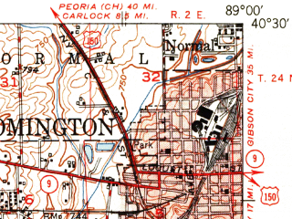 Reduced fragment of topographic map en--usgs--063k--057402--(1951)--N040-30_W089-15--N040-15_W089-00; towns and cities Atlanta, Mclean, Stanford
