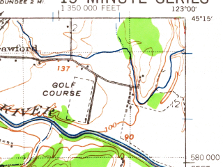 Reduced fragment of topographic map en--usgs--063k--057407--(1940)--N045-15_W123-15--N045-00_W123-00; towns and cities Keizer, Mcminnville, Amity, Dayton, Lafayette