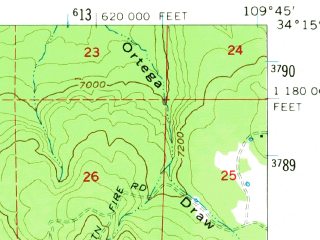Reduced fragment of topographic map en--usgs--063k--057409--(1961)--N034-15_W110-00--N034-00_W109-45; towns and cities Pinetop-lakeside, Mcnary