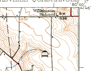 Reduced fragment of topographic map en--usgs--063k--057438--(1925)--N041-45_W080-15--N041-30_W080-00; towns and cities Meadville, Blooming Valley, Cochranton, Fredericksburg