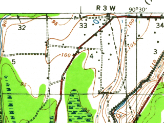 Reduced fragment of topographic map en--usgs--063k--057440--(1940)--N032-45_W090-45--N032-30_W090-30 in area of Dump Lake; towns and cities Satartia