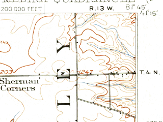 Reduced fragment of topographic map en--usgs--063k--057472--(1904)--N041-15_W082-00--N041-00_W081-45; towns and cities Brunswick, Medina, Seville, Westfield Center, Briarwood Beach