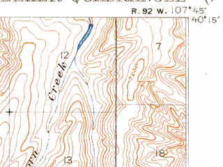 Reduced fragment of topographic map en--usgs--063k--057477--(1914)--N040-15_W108-00--N040-00_W107-45; towns and cities Meeker