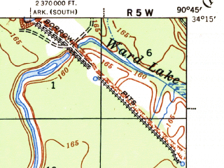 Reduced fragment of topographic map en--usgs--063k--057486--(1939)--N034-15_W091-00--N034-00_W090-45