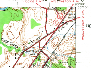 Reduced fragment of topographic map en--usgs--063k--057512--(1955)--N035-15_W090-15--N035-00_W090-00; towns and cities West Memphis, Crawfordsville, Marion, Sunset