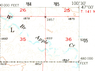 Reduced fragment of topographic map en--usgs--063k--057521--(1951)--N047-00_W100-45--N046-45_W100-30; towns and cities Lincoln