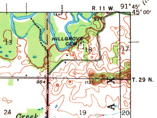 Reduced fragment of topographic map en--usgs--063k--057522--(1940)--N045-00_W092-00--N044-45_W091-45 in area of Lake Menomin; towns and cities Menomonie, Tainter Lake