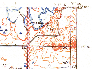 Reduced fragment of topographic map en--usgs--063k--057522--(1942)--N045-00_W092-00--N044-45_W091-45 in area of Lake Menomin; towns and cities Menomonie, Tainter Lake