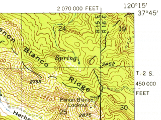 Reduced fragment of topographic map en--usgs--063k--057531--(1954)--N037-45_W120-30--N037-30_W120-15