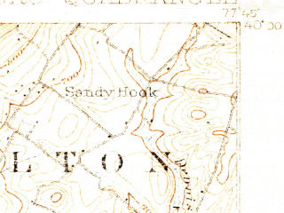 Reduced fragment of topographic map en--usgs--063k--057532--(1900)--N040-00_W078-00--N039-45_W077-45; towns and cities Mcconnellsburg, Mercersburg