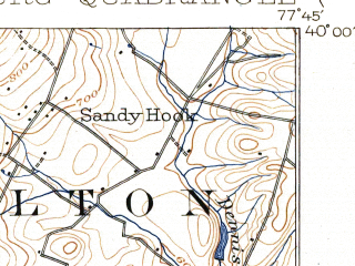 Reduced fragment of topographic map en--usgs--063k--057532--(1902)--N040-00_W078-00--N039-45_W077-45; towns and cities Mcconnellsburg, Mercersburg