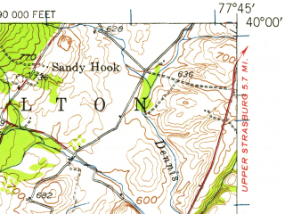 Reduced fragment of topographic map en--usgs--063k--057532--(1943)--N040-00_W078-00--N039-45_W077-45; towns and cities Mcconnellsburg, Mercersburg