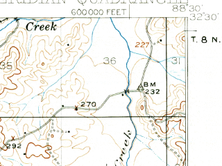 Reduced fragment of topographic map en--usgs--063k--057538--(1921)--N032-30_W088-45--N032-15_W088-30; towns and cities Meridian, Marion