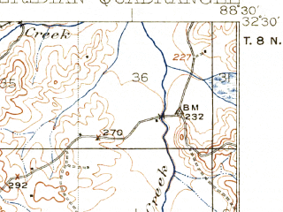 Reduced fragment of topographic map en--usgs--063k--057538--(1923)--N032-30_W088-45--N032-15_W088-30; towns and cities Meridian, Marion