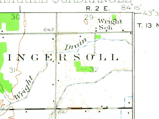 Reduced fragment of topographic map en--usgs--063k--057547--(1934)--N043-30_W084-30--N043-15_W084-15; towns and cities Breckenridge, Merrill