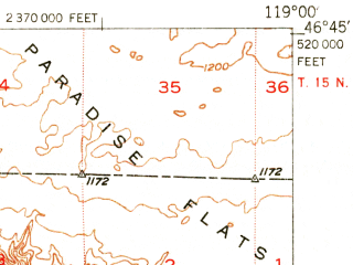 Reduced fragment of topographic map en--usgs--063k--057555--(1951)--N046-45_W119-15--N046-30_W119-00; towns and cities Mesa