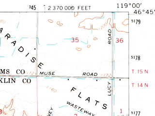 Reduced fragment of topographic map en--usgs--063k--057555--(1965)--N046-45_W119-15--N046-30_W119-00; towns and cities Mesa