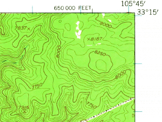 Reduced fragment of topographic map en--usgs--063k--057561--(1950)--N033-15_W106-00--N033-00_W105-45; towns and cities Mescalero
