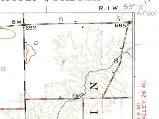 Reduced fragment of topographic map en--usgs--063k--057568--(1948)--N041-00_W089-30--N040-45_W089-15; towns and cities Chillicothe, Germantown Hills, Hopewell, Metamora