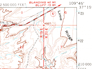 Reduced fragment of topographic map en--usgs--063k--057572--(1963)--N037-15_W110-00--N037-00_W109-45; towns and cities Mexican Hat