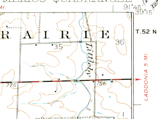 Reduced fragment of topographic map en--usgs--063k--057575--(1932)--N039-15_W092-00--N039-00_W091-45; towns and cities Mexico, Auxvasse, Benton City, Vandiver