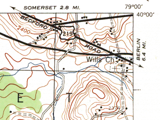 Reduced fragment of topographic map en--usgs--063k--057577--(1944)--N040-00_W079-15--N039-45_W079-00; towns and cities Casselman, Garrett, Meyersdale