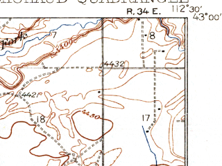 Reduced fragment of topographic map en--usgs--063k--057583--(1937)--N043-00_W112-45--N042-45_W112-30; towns and cities Arbon Valley