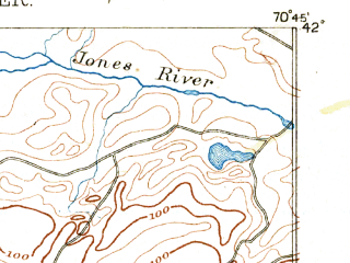 Reduced fragment of topographic map en--usgs--063k--057590--(1888)--N042-00_W071-00--N041-45_W070-45 in area of Assawampset Pond, Long Pond, Great Quittacas Pond; towns and cities Bridgewater, Middleborough Center, North Lakeville, West Wareham