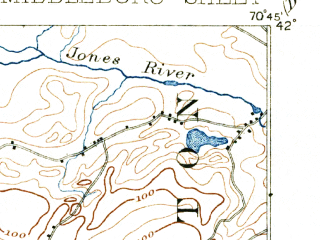Reduced fragment of topographic map en--usgs--063k--057590--(1893)--N042-00_W071-00--N041-45_W070-45 in area of Assawampset Pond, Long Pond, Great Quittacas Pond; towns and cities Bridgewater, Middleborough Center, North Lakeville, West Wareham