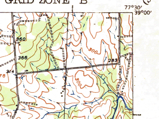 Reduced fragment of topographic map en--usgs--063k--057592--(1933)--N039-00_W077-45--N038-45_W077-30; towns and cities Bull Run, Middleburg, Haymarket