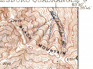 Reduced fragment of topographic map en--usgs--063k--057594--(1930)--N036-45_W083-45--N036-30_W083-30; towns and cities Middlesborough, Shawanee, Cumberland Gap