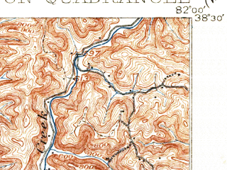 Reduced fragment of topographic map en--usgs--063k--057616--(1902)--N038-15_W082-15--N038-00_W082-00; towns and cities Harts