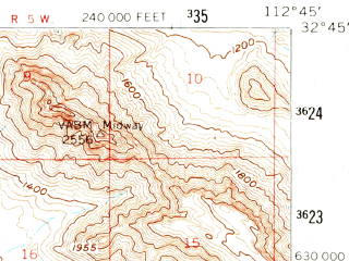 Reduced fragment of topographic map en--usgs--063k--057624--(1958)--N032-45_W113-00--N032-30_W112-45
