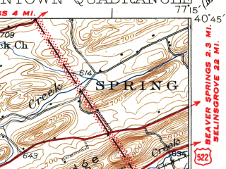 Reduced fragment of topographic map en--usgs--063k--057628--(1937)--N040-45_W077-30--N040-30_W077-15; towns and cities Mifflintown, Port Royal, Mcclure